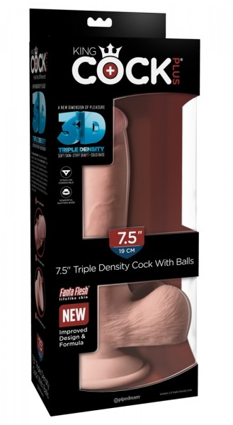 """7,5"""" Triple Density Cock with balls"""