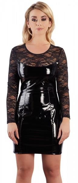 Lack-Kleid mit Spitze