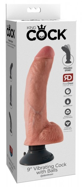 "9"" Vibrating Cock with Balls"